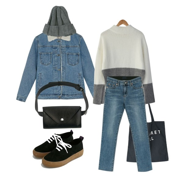 BANHARU sleeve slit angora knit,BANHARU margaret eco bag,BANHARU boucle washing denim jacket등을 매치한 코디