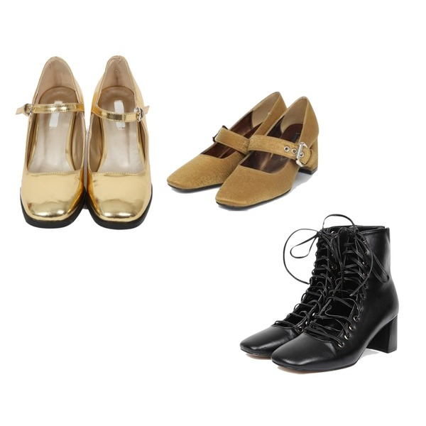 AIN gladiator strap heel,From Beginning Glossy mary Janes middle heel_H  (size : 225,230,235,240,245,250),AIN lady buckle heel (225-250)등을 매치한 코디