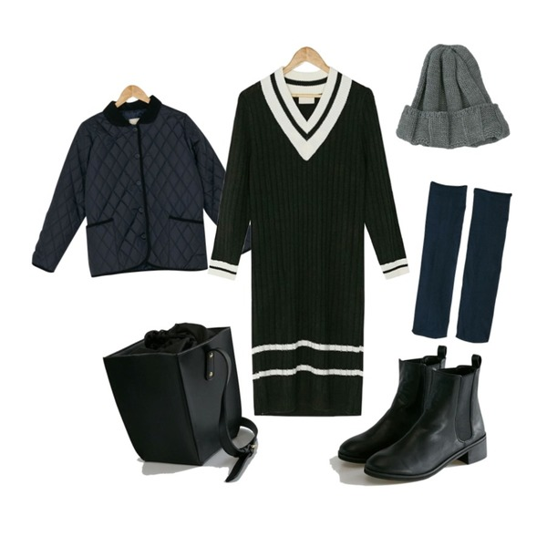 BANHARU v-neck coloration long ops,BANHARU rounding basic chelsea boots,BANHARU round collar quilting jacket등을 매치한 코디