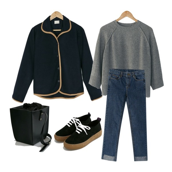 BANHARU bias collar jacket,BANHARU suede platform sneakers,BANHARU solid square shoulder bag등을 매치한 코디
