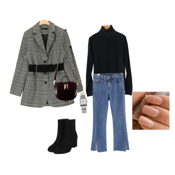 common unique [BOTTOM] DEEP SLIT WIDE DENIM PANTS,AIN glossy belt set check jacket,OBBANG STYLE 포스트폴라니트등을 매치한 코디