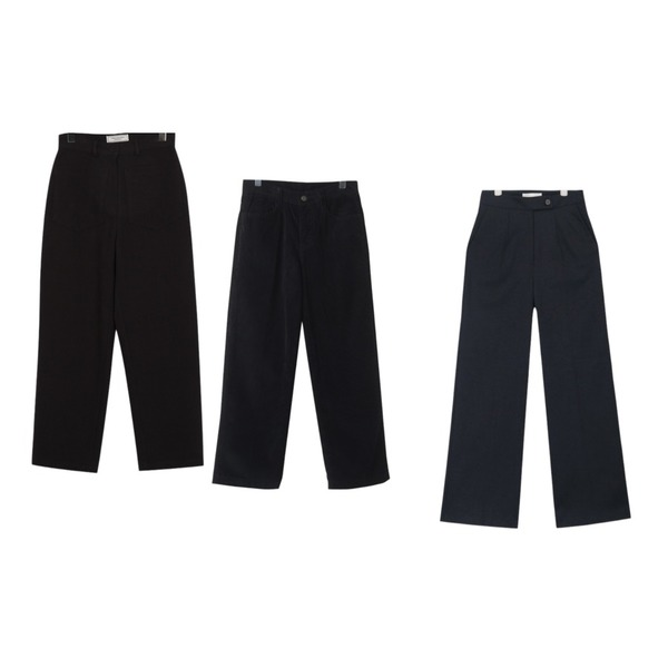 From Beginning Made_bottom-132_twill cotton pants (size : S,M),OBBANG STYLE 코르덴골덴와이드바지,AIN vender button point pants (s, m)등을 매치한 코디