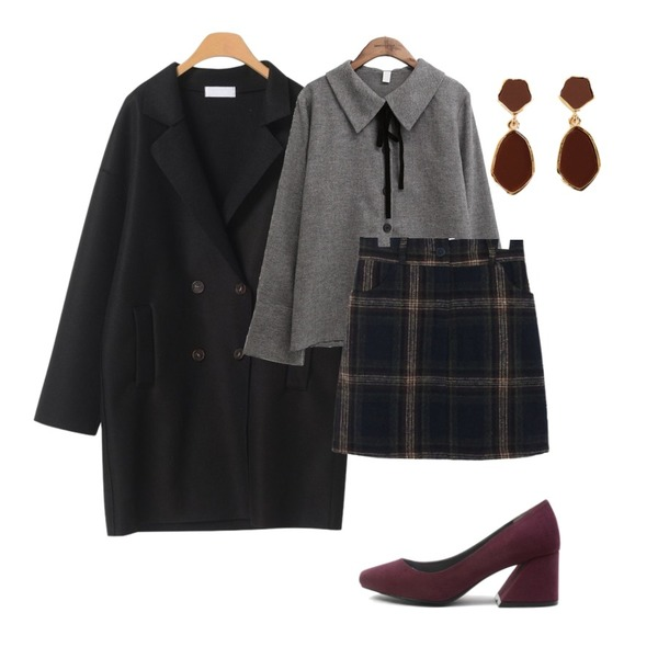OBBANG STYLE 몰랑울더블코트,common unique [SKIRT] WARM CHECK SKIRT - 2 TYPE,common unique [TOP] BUTTER VELVET TIE BLOUSE등을 매치한 코디