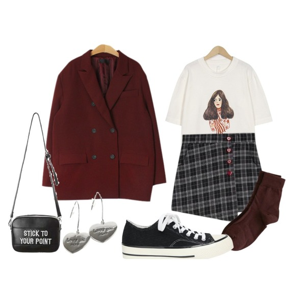 MESMIN 셀렉 오버핏 더블자켓 (2color),MIXXMIX Heart Check Skirt Pants,From Beginning Girl half sleeve T_S (size : free)등을 매치한 코디
