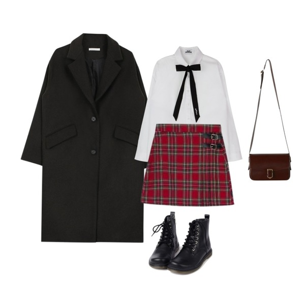 MIXXMIX 미드나잇 리본타이 셔츠,MIXXMIX Lonely Buckle Check Skirt,biznshoe Loose fit two button coat (3color)등을 매치한 코디