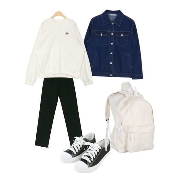 MIXXMIX 베이직 데님 자켓,AIN skip stitch detail mtm,BANHARU napping straight cotton pants등을 매치한 코디