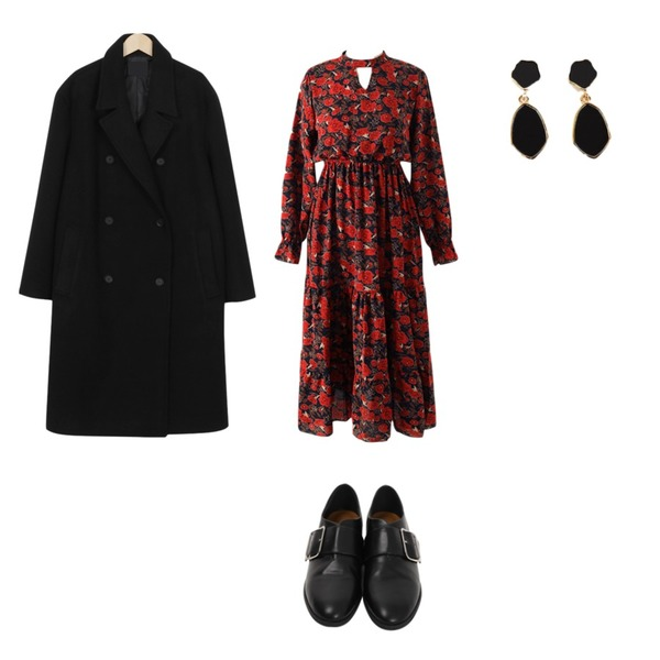 From Beginning Square belted loafer_S (size : 230,235,240,245,250),Reine 세레나 로즈 원피스,From Beginning Monica double padding coat_M (size : free)[21일 입고예정]등을 매치한 코디