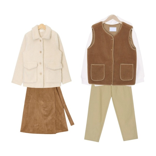AIN suede manish wrap skirt (2 colors),biznshoe Half pola unisex man-to-man (8color),BANHARU cotton semi baggy pants등을 매치한 코디