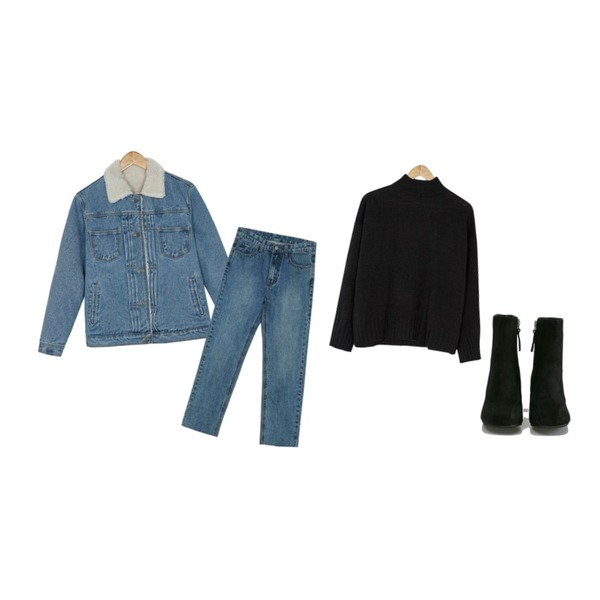 BANHARU half-neck basic knit,BANHARU vintage straight crop jean,BANHARU boucle washing denim jacket등을 매치한 코디