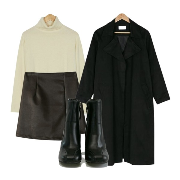 BANHARU big collar robe trench coat,BANHARU leather mini wrap skirt,BANHARU soft texture turtle knit등을 매치한 코디