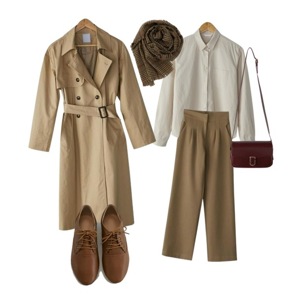 BANHARU cozy pocket shirts,BANHARU double button trench coat,BANHARU pintuck maxi slacks등을 매치한 코디