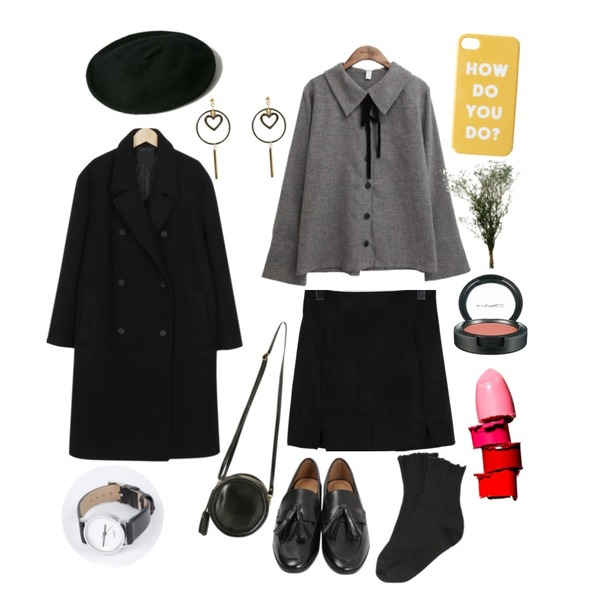 From Beginning Rubber tassel loafer_M (size : 225,230,235,240,245,250),From Beginning Suede mini slit skirt_S (size : free),common unique [TOP] BUTTER VELVET TIE BLOUSE등을 매치한 코디
