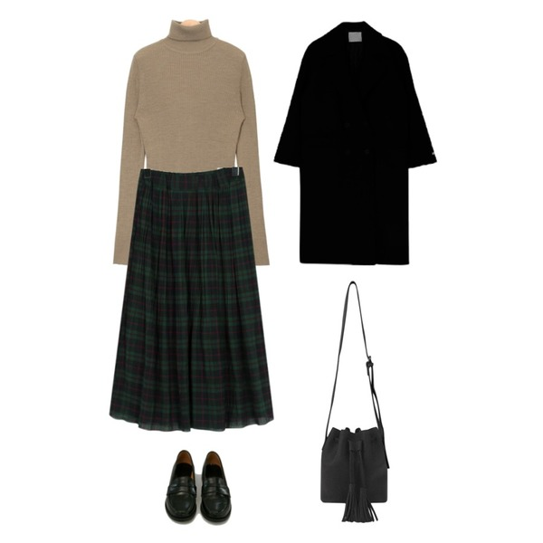From Beginning Wrinkle check banding skirt_K (size : free),MIXXMIX 런던 오버 더블 코트,AIN calm berry pola knit등을 매치한 코디
