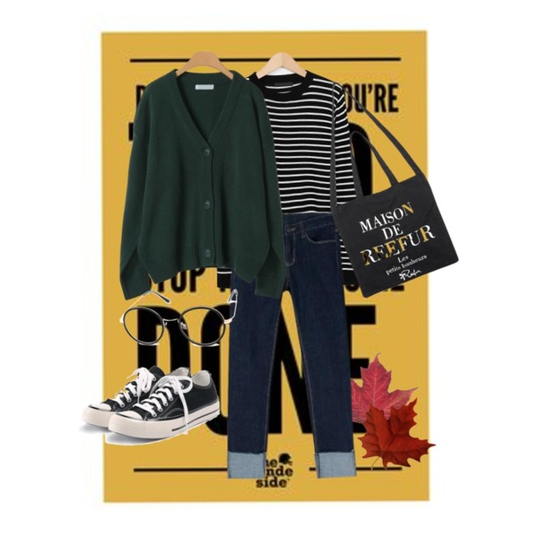 yellow poster,maple 2,From Beginning Soft round stripe knit_K (size : free)등을 매치한 코디