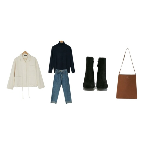 BANHARU loose fit pocket jacket,BANHARU basic turtleneck knit tee,BANHARU cutting point denim pants등을 매치한 코디
