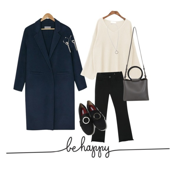 be happy,BANHARU [hand made] standard fit simple coat,common unique [TOP] SLEEVE SLIT V NECK KNIT등을 매치한 코디