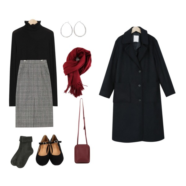 From Beginning Made_top-194_wool tension pola T (size : free),AIN mood check midi wool skirt (s, m),BANHARU solid golgi socks등을 매치한 코디