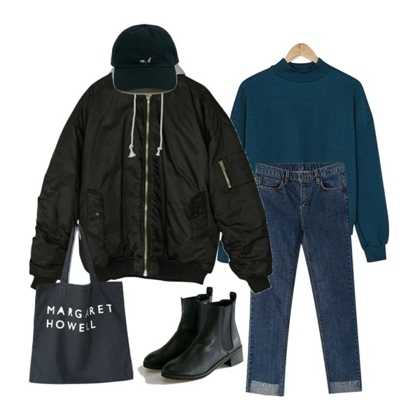 BANHARU square cut straight jean,BANHARU cozy napping mtm,BANHARU boxy fit ma-1 jumper등을 매치한 코디