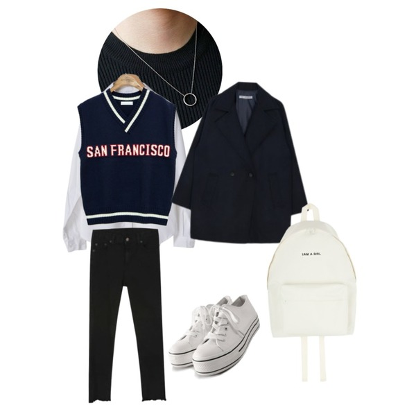 daily monday Round necklace 3set,common unique [OUTER] SAN FRANCISCO LETTERING KNIT VEST,OBBANG STYLE 오아시스셔츠등을 매치한 코디