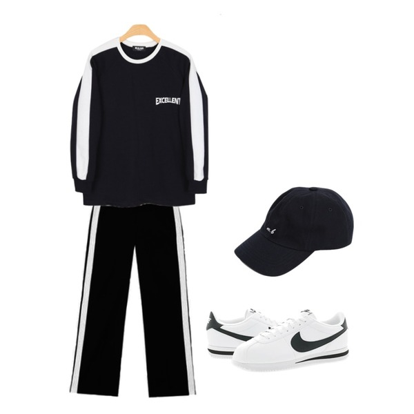 BULLANG GIRL 엑설런트배색MTM,AIN FRESH A track slacks,From Beginning Birth work ball cap_K (size : one)등을 매치한 코디