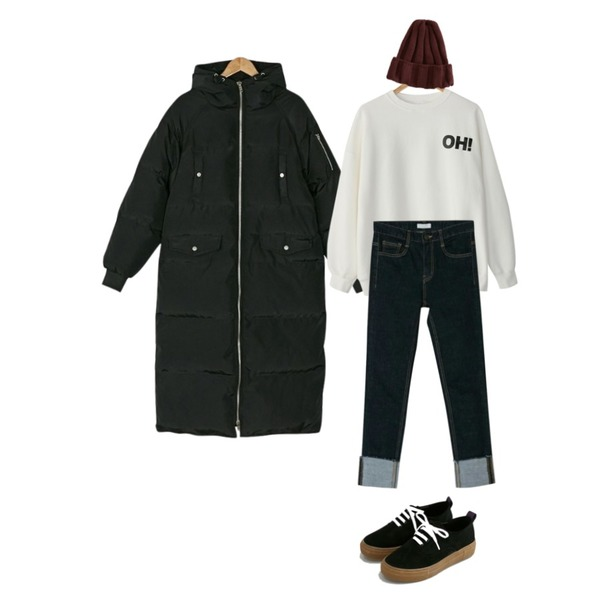 BANHARU alive basic roll-up jean,BANHARU OH cotton mtm,BANHARU heavy long padding등을 매치한 코디