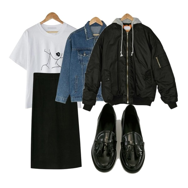 BANHARU woman printing tee,BANHARU banding slit knit skirt,BANHARU vintage washing denim jacket등을 매치한 코디