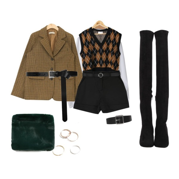 OBBANG STYLE 오아시스셔츠,AIN vintage mood classic jacket,From Beginning Holiday high boots_M (size : 225,230,235,240,245,250)등을 매치한 코디