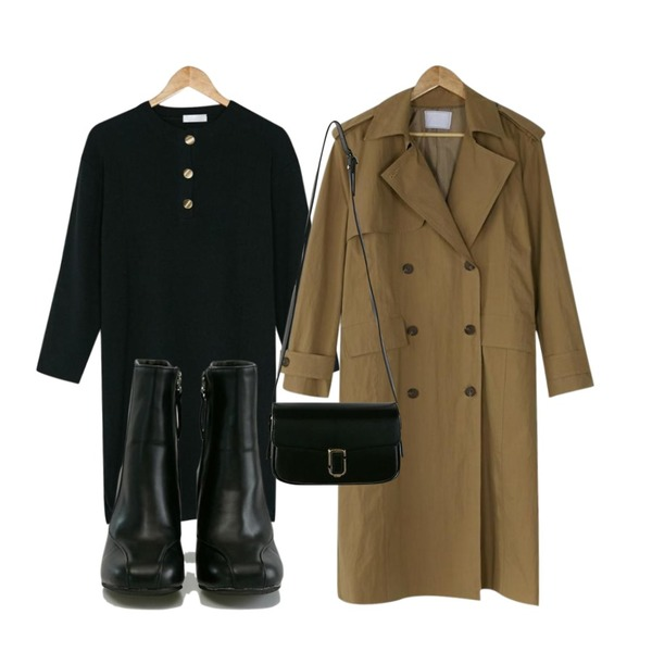 BANHARU paris loose trench coat,BANHARU retro gold button ops,BANHARU formal line ankle boots등을 매치한 코디