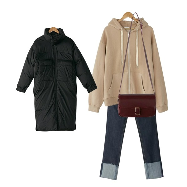 BANHARU cutting roll-up straight jean,BANHARU all day loose fit hood zip-up,BANHARU duck down over neck long padding등을 매치한 코디
