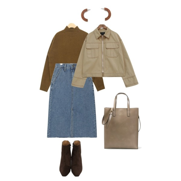 common unique [OUTER] AMECAJI STICH SET JAKET,AIN twitty soft angora knit,AIN casual front slit denim skirt (s, m, l)등을 매치한 코디