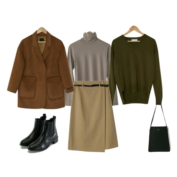 BANHARU rozy belt wrap skirt,BANHARU v-neck drop shoulder knit,BANHARU basic silky turtleneck tee등을 매치한 코디