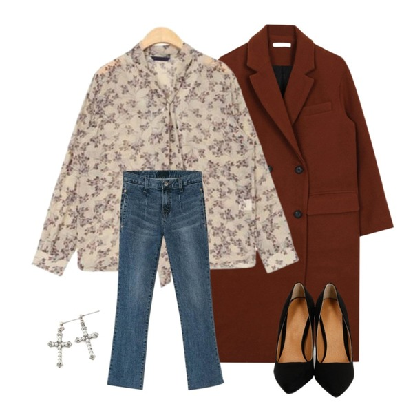 From Beginning Laundry color stiletto heel_Y (size : 225,230,235,240,245,250),AIN glossy flower ribbon blouse,biznshoe Double button coat (3color)등을 매치한 코디
