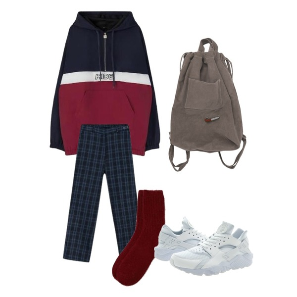 MIXXMIX Time To Check Slit Pants,BANHARU warm angora socks,MIXXMIX Half Zipup Hood Jacket등을 매치한 코디