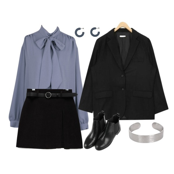 AIN classic two button jacket,BANHALA [은지 PICK] 줄리아 블라우스_,common unique [SKIRT] SOFT BELT SET SKIRT등을 매치한 코디