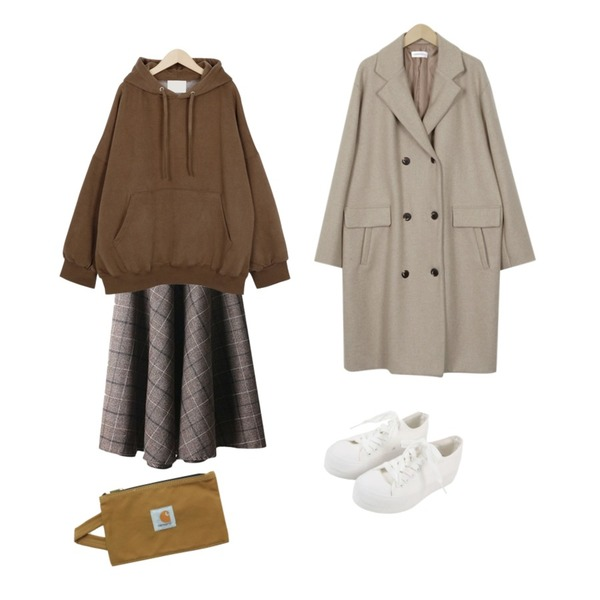 MASHYELLOW 벨트SET 체크 롱 스커트,From Beginning Easy napping hood mtm_P (size : free),From Beginning Double wool midi coat_K (size : free)등을 매치한 코디