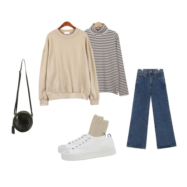 From Beginning Color stripe turtle T_Y (size : free),daily monday Glitter basic socks,AIN meeting washing wide denim pants (s, m, l)등을 매치한 코디