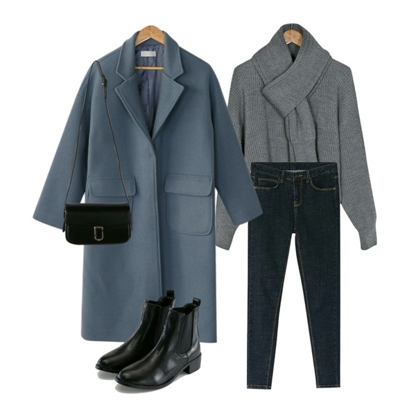 BANHARU classic snap wool coat,BANHARU dark blue skinny jean,BANHARU drop shoulder muffler set knit등을 매치한 코디