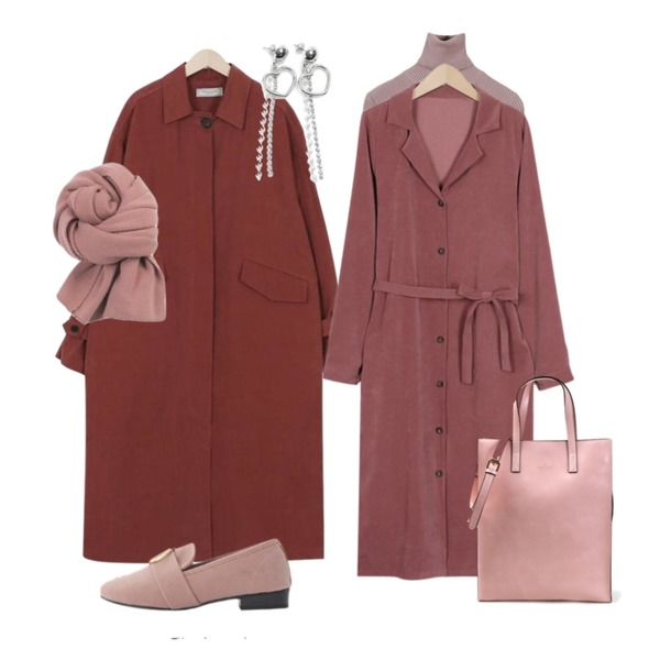 From Beginning Made_outer-084_ballon long trench coat (size : free),From Beginning Dull satin shirts ops_K (size : free),MINIBBONG 슬림골지 폴라니트(8color) - 리오더중,11/20 입고예정등을 매치한 코디
