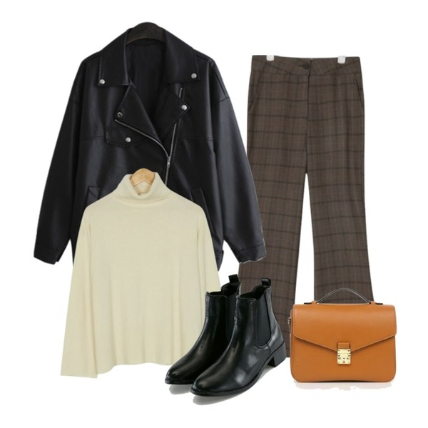 LINDA GIRLS 아크라이더 JK (1color),AIN vintage classic check slacks (2 colors),BANHARU soft texture turtle knit등을 매치한 코디