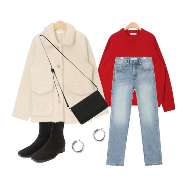 AIN dinky bumble jumper,AIN lambswool round neck knit,AIN wide natural denim pants (s, m)등을 매치한 코디