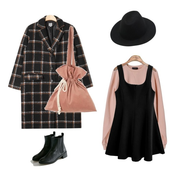 AIN bold check long coat (2 colors),OBBANG STYLE 버라이어티맨투맨,common unique [OPS] ANN CURVE FLARE OPS등을 매치한 코디
