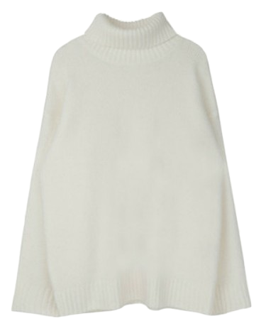 Wool touch high neck cut