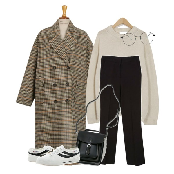 From Beginning Slow lambswool knit_M (size : free),From Beginning Made_outer-098_classic check coat_B (size : free),Zemma World 젠틀-슬렉스 (ver.뉴윈터슬림스트레이트)[size:S,M,L-단독판매♥ / 2color]등을 매치한 코디