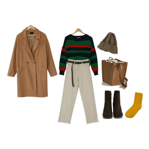 BANHARU cotton belt set pants,BANHARU boxy fit long coat,BANHARU deep color stripe knit등을 매치한 코디