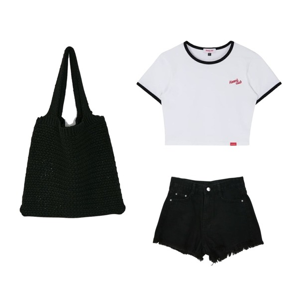 MIXXMIX Heart Ringer Crop Top,Zemma World Scopic-데님쇼츠[size:S,M,L / 1color],BANHARU hand knit bag등을 매치한 코디