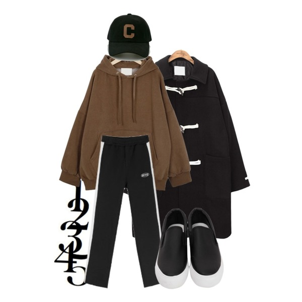 12345,From Beginning Easy napping hood mtm_P (size : free),common unique [OUTER] SIGNATURE WOOL DUFFLE COAT등을 매치한 코디