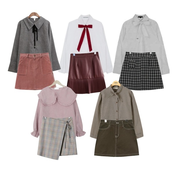 MIXXMIX Ribbon Tie Long Shirt,common unique [SKIRT] LEATHER PLEATS MINI SKIRT SALE,MIXXMIX 미드나잇 리본타이 셔츠등을 매치한 코디