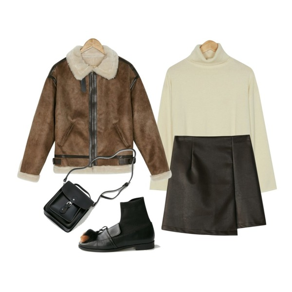 BANHARU leather mini wrap skirt,BANHARU soft texture turtle knit,BANHARU loose fit high neck mustang등을 매치한 코디