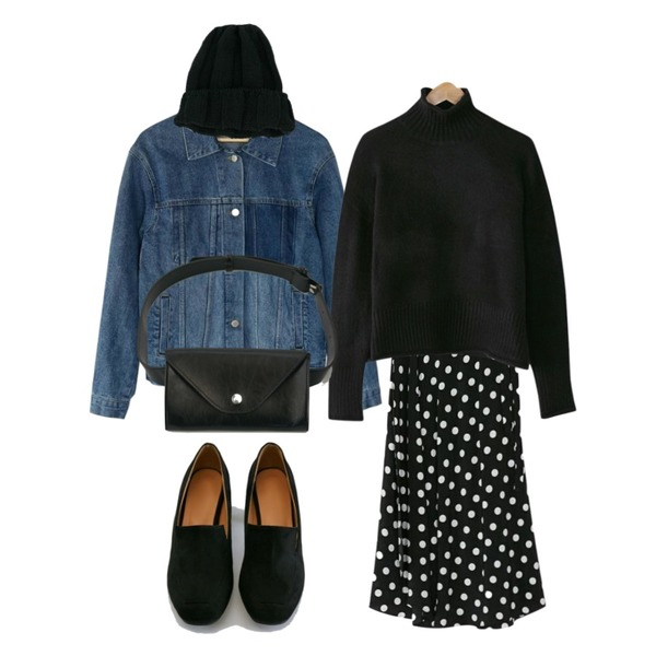 BANHARU dot wrap maxi skirt,BANHARU washing pocket denim jacket,BANHARU drop shoulder rolling turtleneck knit등을 매치한 코디