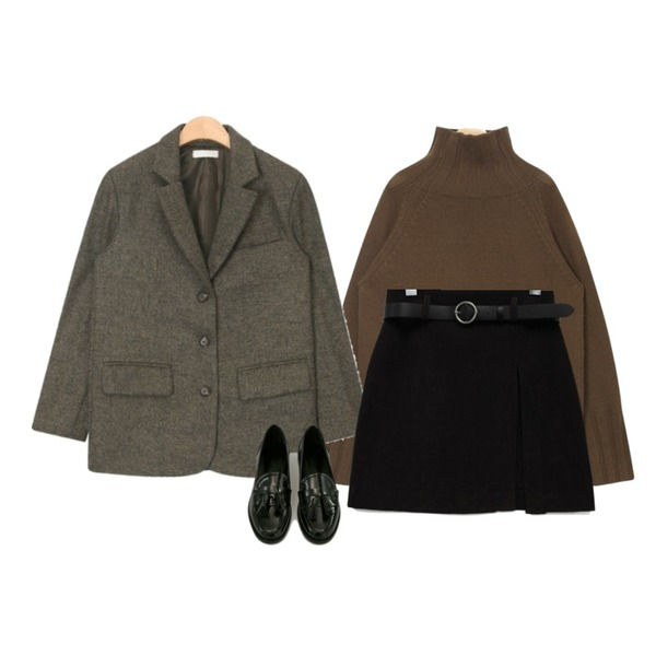 common unique [SKIRT] SOFT BELT SET SKIRT,AIN issue turtle neck wool knit,AIN bokashi standard fit jacket등을 매치한 코디